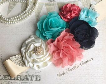 Coral Teal Navy Ivory Gold Flower Sash, Wedding Sash, Bridal Flower Sash, Maternity Sash, Maternity Belt, Maternity Dress Sash, Rustic Sash