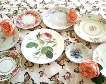 PINK ROSES China Plates Mismatched Wall Decor Set of Eight