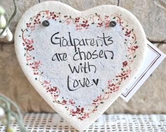 Baptism Gift Godparents are Chosen with Love Heart Salt Dough Ornament