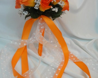 Wedding Bridal Floral Bouquet - Silk Rose Flowers - Ivory and Light/Dark Orange With Raindrops Organza/ Satin Ribbons (SRWB-038)