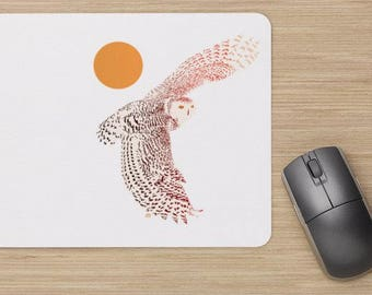 Mouse pad, snowy owl painting, snow owl illustration, owl, white owl, bird illustration, harfang des neiges, chouette harfang.