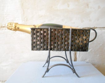 Mid century silver plated wine basket, woven shape high bottle holder, table centerpiece . 50s wine display France.