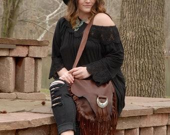 Western leather purse, western crossover handbag, cowgirl purse