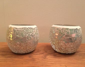Pair of hand made mosaic tea light holders in pale blue