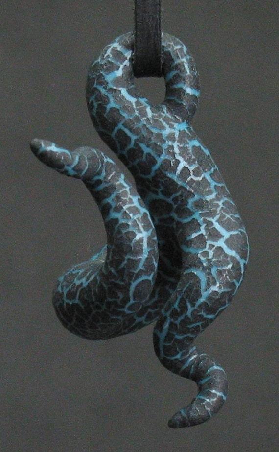 squiggly organic turquoise blue and black crackle ceramic pendant