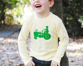 Tot on a Tractor Long Sleeved Crew Shirt by Nostalgic Graphic Tees - Yellow with John Deere Green