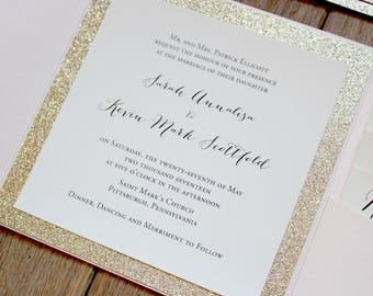 Gold Glitter Wedding Invitation, Blush Pocket Invite, Blush Wedding Invites, Glitter Wedding Invitation, Gold Glitter and Blush Pocketfold