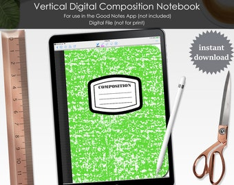 Digital Composition Notebook for GoodNotes Functioning Clickable Hyperlinks PDF File Blank Tabs Lined Paper Blank Pages School Academic