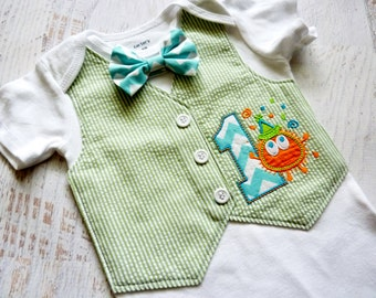 Little Monster First Birthday Tuxedo Bodysuit Vest with Removable Matching Bow Tie