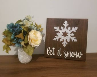 Let It Snow Wooden Sign | Wooden Word Sign | Christmas Decor | Winter Sign | Rustic Decor