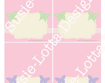 Butterfly Party Theme - Tent cards - Printable PDF -  DIY