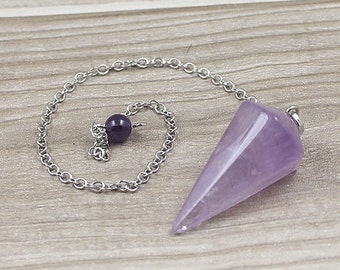 Amethyst Point Pendulum Pendant -- Healing Crystal Point Pendant with Silver Plated bail Wholesale 1,3,5,10,50,100