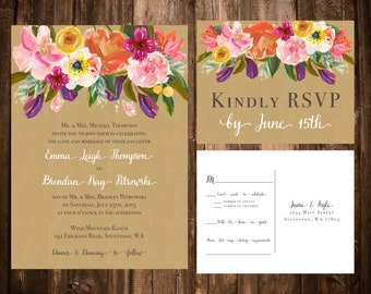 Bright Spring Florals on Kraft Wedding Invitations; Printable OR set of 25