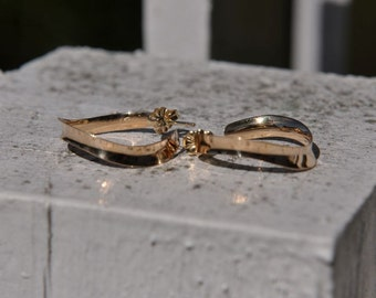14k Yellow Gold Drop Hoop Earrings, Handmade in Maine
