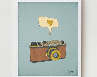Camera Art Print, Camera Poster, Digital Illustration, Camera Wall Decor, Antique Photography Camera Art Digital Poster, Vintage Camera