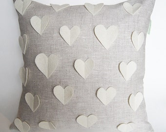 Pillow with Hearts/ White Wool Hearts/Cushion Cover/ Mother's Day Gift Idea/ Made To Order