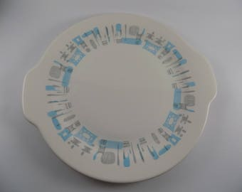 Vintage Blue Heaven Cake/Serving Platter 1950's