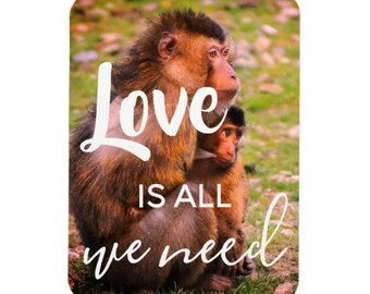 Love Is All We Need Monkey Magnet | Monkeys Wildlife Magnet - Animal Magnet | Refrigerator Magnet, Kitchen Magnet, Animal Lover Magnet