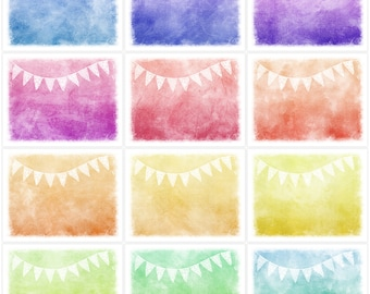 Instant Download DIY Shabby Distressed Rainbow Hues Digital Art Journal Papers - 12 - 11 x 8.5 inch Printable Sheets JPEG & PDF (1677)