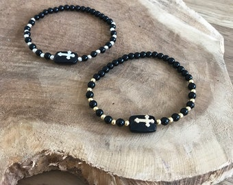 Onyx and 925 sterling silver cross bracelet or gold filled