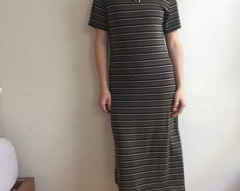 Long Striped V Neck Dress