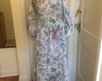 Floral Peasant Dress Boho Shabby Chic Vintage Handmade 100% Cotton Pay-What-You-Want