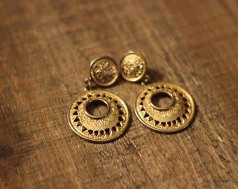 Gold Vintage Geo Drop Dangle Earrings