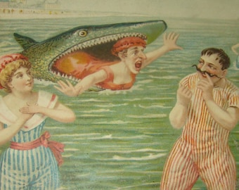 Great Vintage/Antique Comedic Postcard (Shark,Swimmers)