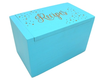Personalized Recipe Box - Glitter Design Painted in Your Choice of Color - Chalk Paint Bamboo Recipe Box