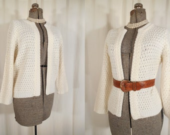 Vintage 1950s Sweater - 50s XL White Open Knit Cardigan Shrug