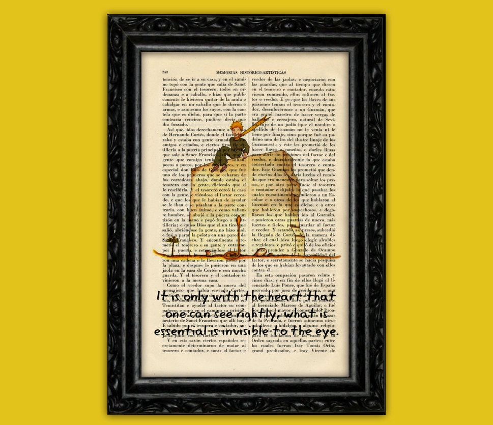 The Little Prince quote only with the heart Book Art Prints Le