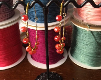 Summer coral and gold hoops