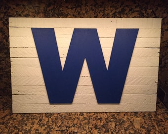"""Chicago Cubs W Rustic Wooden Sign 24"""" X 15"""""""