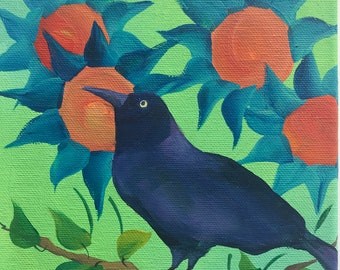 Grackle in the Sunflower Garden on Deep Edge Canvas V4