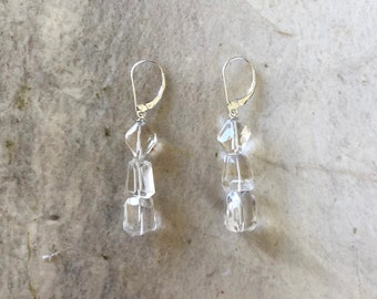 Step Cut AAA Natural Clear Rock Crystal Quartz and Sterling Silver Lever Back Statement Drop Earrings