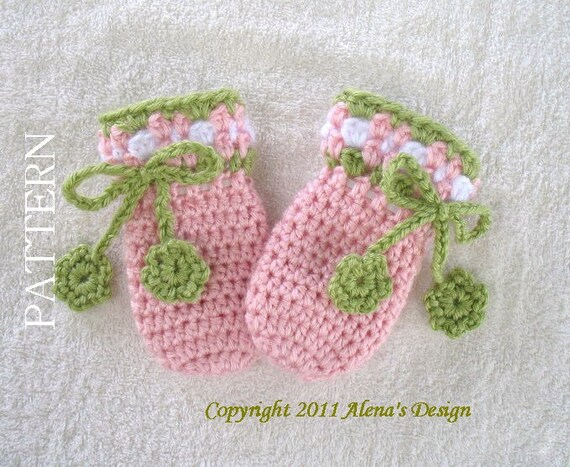 Crochet Pattern 036 - Crochet Mitten Pattern for Baby Thumb-less Mittens - Crochet Patterns -Crochet Glove Pattern Baby Hat Booties Mittens