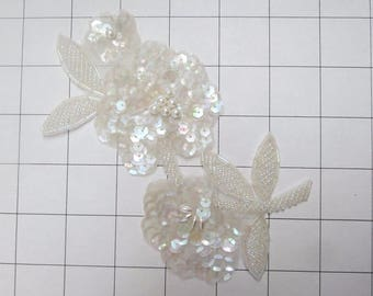 White & Clear AB and Pearls Sequins Flower Applique (G-18)
