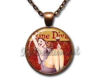 Wine Lover Diva Vintage  Glass Dome Pendant or with Chain Link Necklace BF147