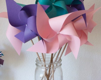 Princess Party Decor Baby Shower Favors Wedding Favors Decor Birthday Favors - 12 regular Paper Pinwheels