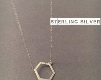 Hexagon Necklace, Sterling Silver Necklace, Silver Hexagon Necklace, Geometric Necklace, Minimal Necklace, UK Seller,Mothers Day Gift
