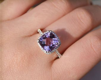 Cushion Natural Amethyst Ring Amethyst Engagement Ring/ Wedding Ring  Anniversary Ring Promise Ring