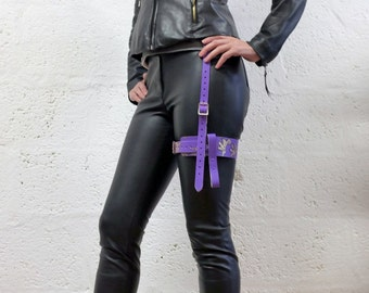 Leather Single Thigh Harness for Men and Women - Purple/Multi  - steampunk - burning man - apocalypse - mad max See description for size