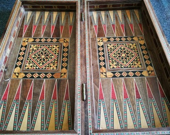 Handmade Oriental Luxury Backgammon Tavla Chess Inlay wood craftmenship compact