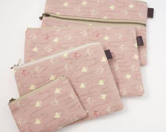 LIMITED Bird zipper pouch, Coin purse, Makeup pouch, Pencil case, Travel bag, Pink