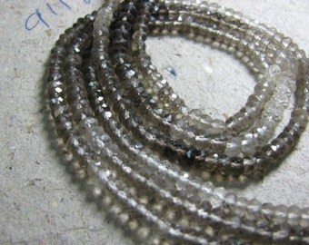 SALE Sale 45 % Off Full 14 Inch X 10 strand Natural Shaded SMOKEY QUARTZ 3.5-4mm approx Faceted Rondelle beads.