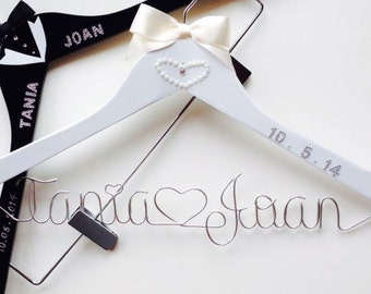 Customizable Bride & Groom Package, Customizable Personalized Pants, Skirt, Dress, Veil and Tuxedo  Hangers