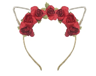 Red Rose Cat Headband