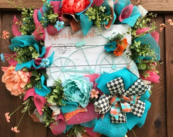 Sunmer Wreath, Enjoy the Ride, Bicycle Wreath, Everyday Wreath