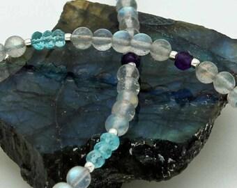 Labradorite, apatite, & amethyst necklace