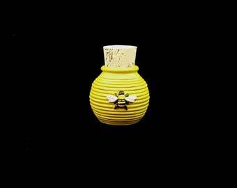 Stoneware Bee Hive and Bee Bottle with Cork